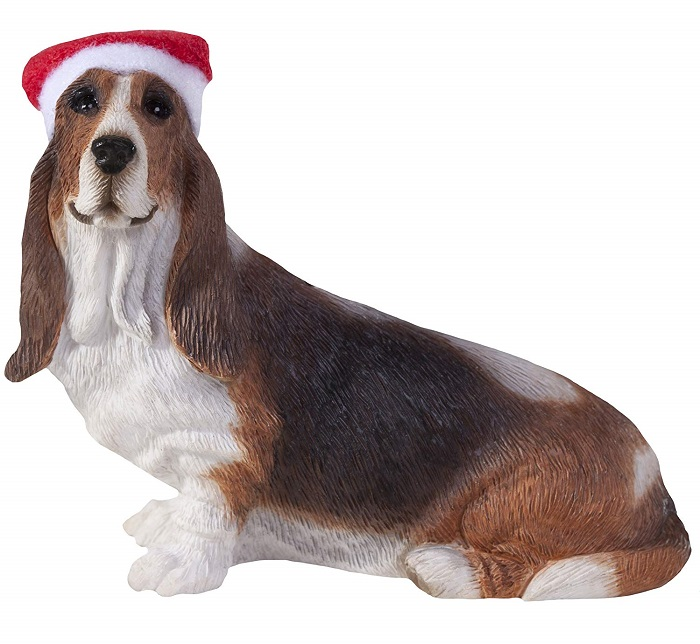 Basset Hound with Santa Hat Christmas Ornament