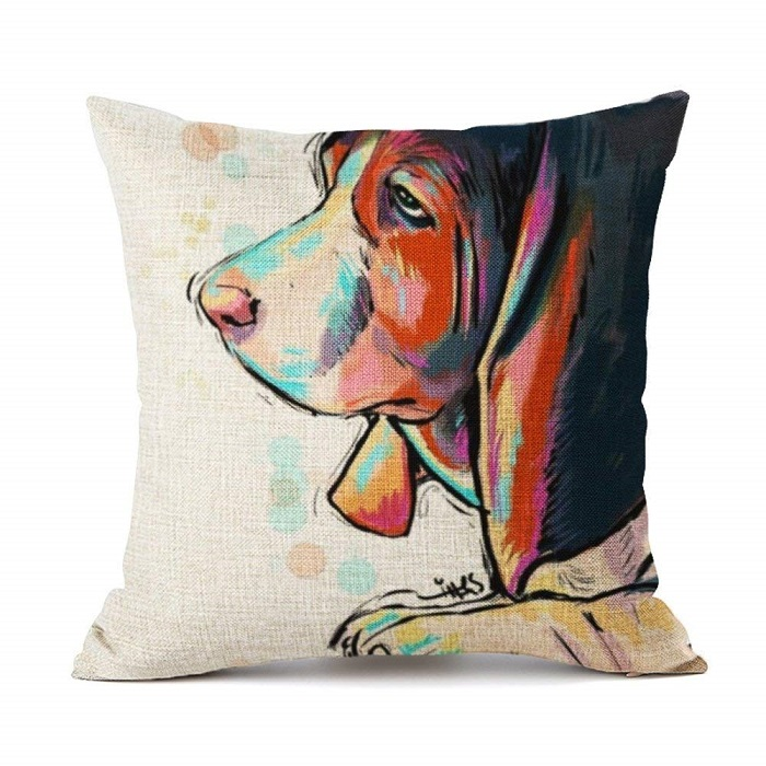 Basset Hound Pattern Throw Pillow Cover