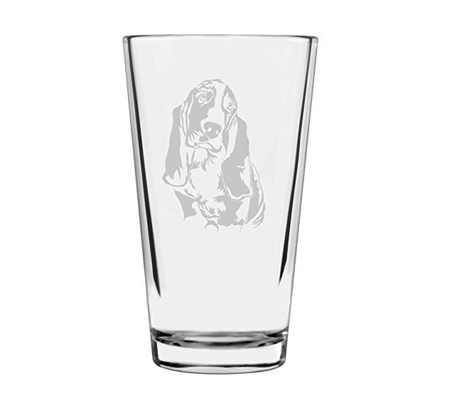 Basset Hound Etched 16oz Libbey Pint Glass