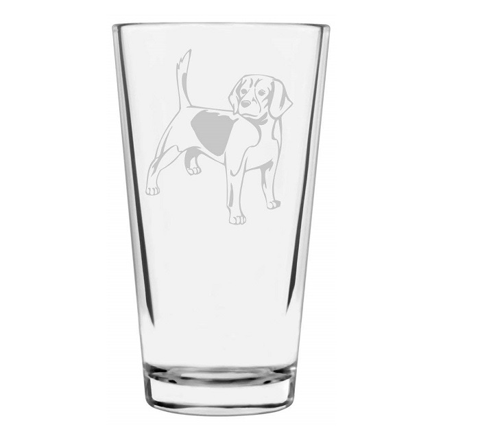 Beagle Etched Glass