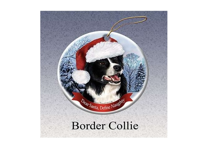 Border Collie Santa Christmas Tree Ornament