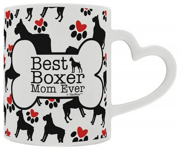 Best Boxer Mom Ever Mug with Heart Handle