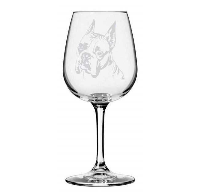 Boxer Dog Etched Glass