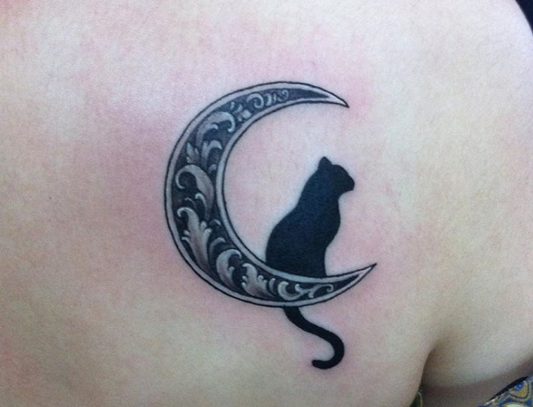 28 Best Cat And Moon Tattoo Designs The Paws