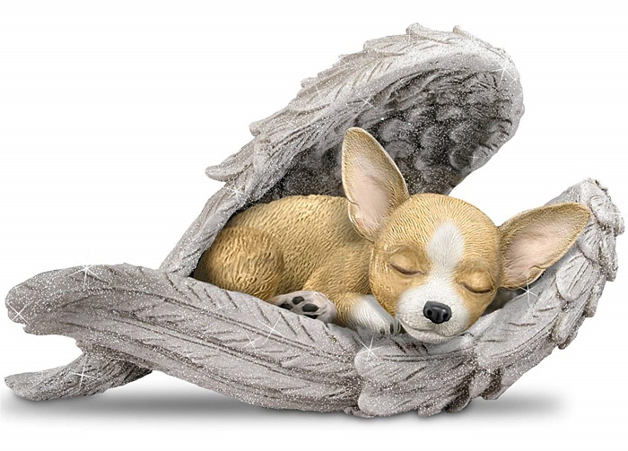 Chihuahua Wrapped In Angel Wings Figurine