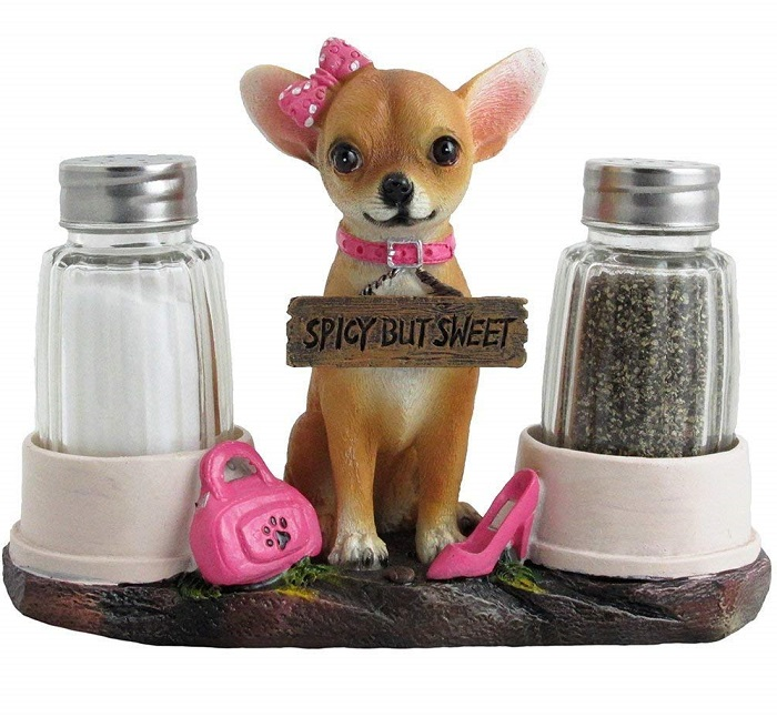 Chihuahua Salt and Pepper Shaker Set with Holder Figurine