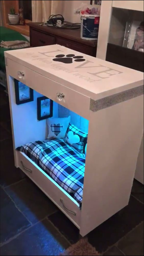 DIY dog bed made of nightstand