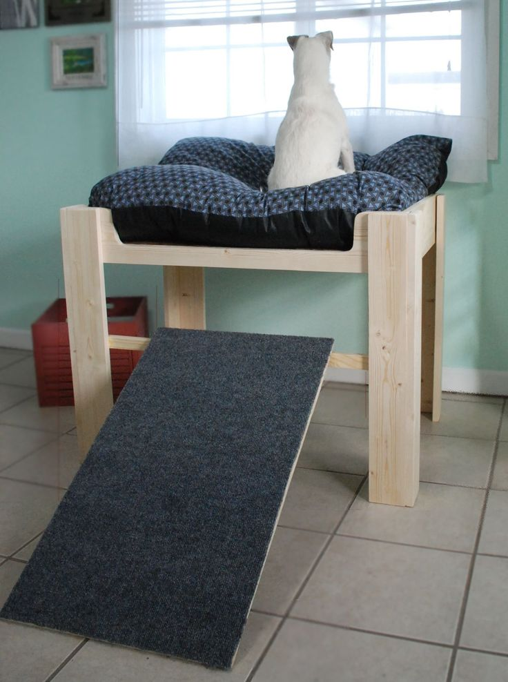 Wooden raised dog bed