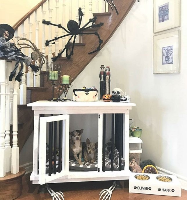 White wooden dog crate