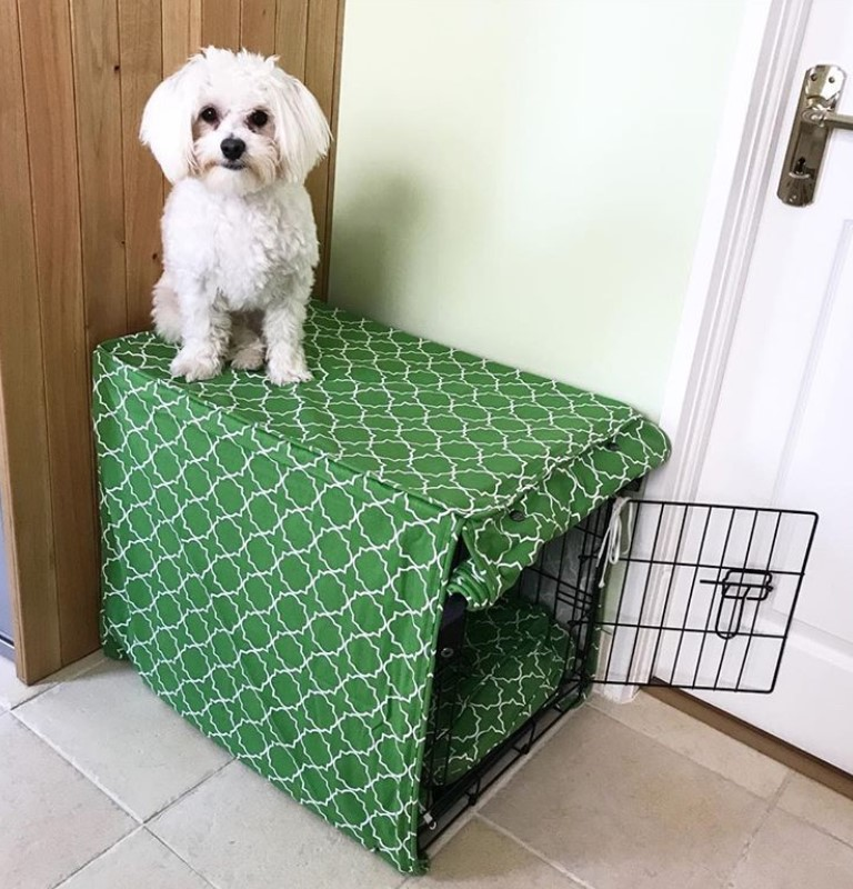 Small metal dog crate with cover