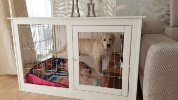 White large wood dog crate