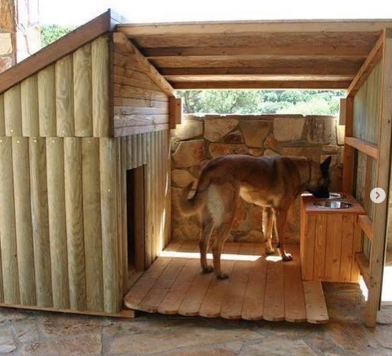 Wooden dog house with covered porch and food bowl tray, Large dog house
