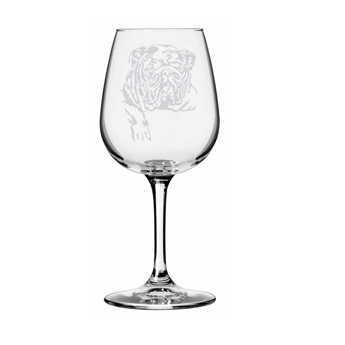 Bulldog Themed Etched Wine Glass
