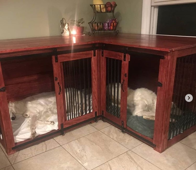 Indoor wooden dog kennel, corner dog crate furniture