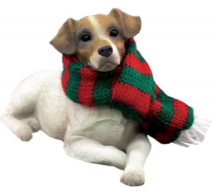 Jack Russell Terrier with Scarf Christmas Ornament