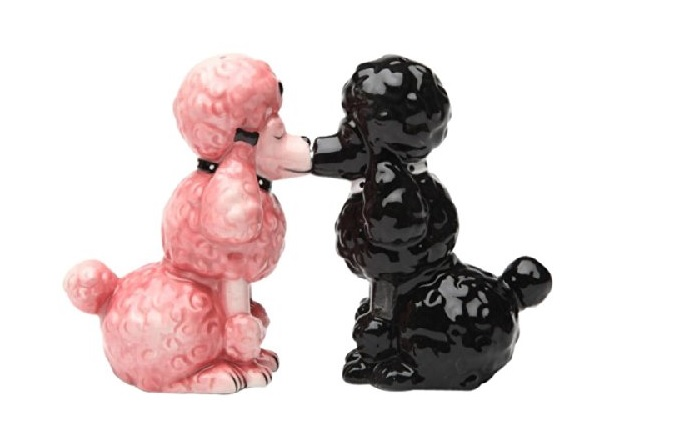 Kissing Poodles Magnetic Salt and Pepper Shakers Set