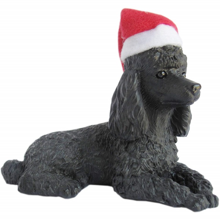 Black Poodle with Santa Hat Christmas Ornament