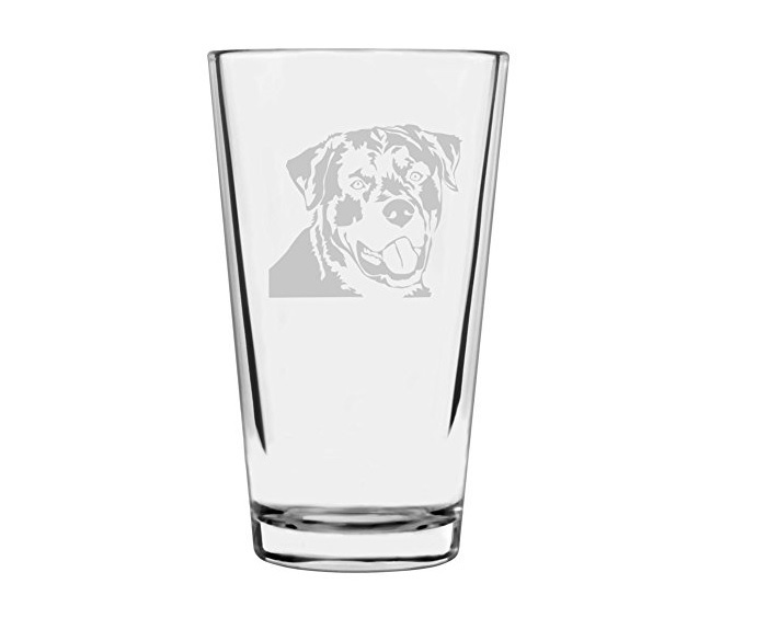 Rottweiler Themed Etched Pint Glass