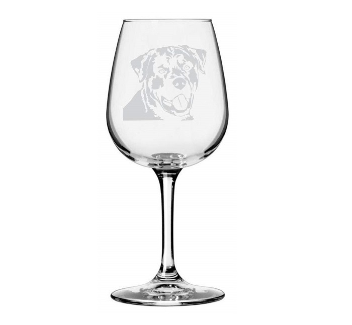 Rottweiler Themed Etched Wine Glass