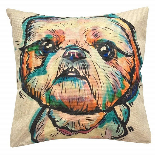 Shih Tzu Pattern Throw Pillow Cover