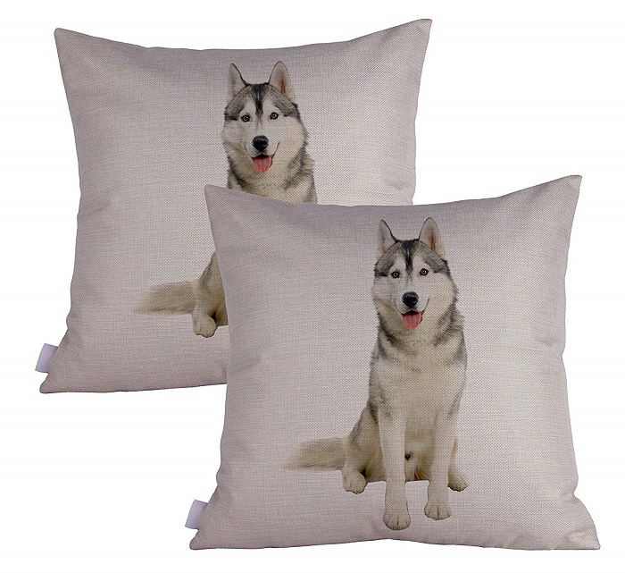 Husky Print Throw Pillow Case