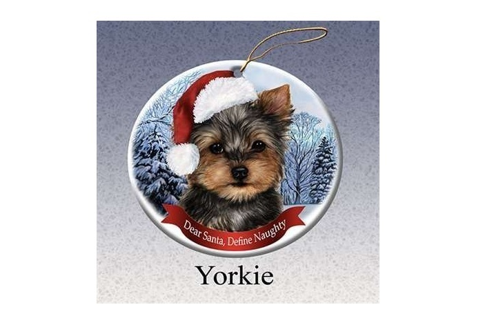 Yorkie Santa Porcelain Christmas Tree Ornament