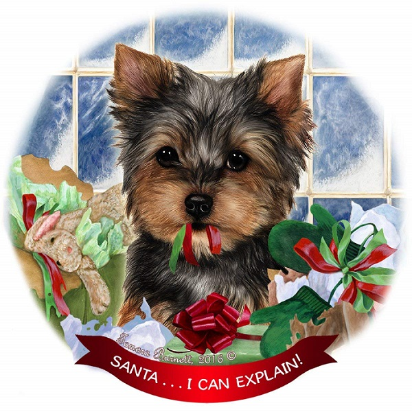 Yorkshire Terrier Porcelain Hanging Ornament