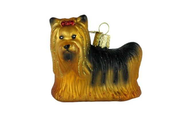 Yorkie Glass Blown Ornament for Christmas Tree