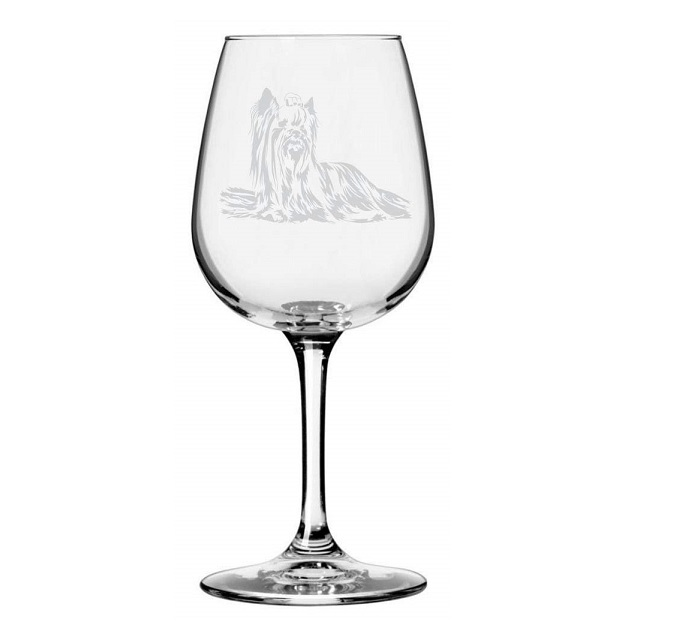 Yorkshire Terrier Etched Wine Glass