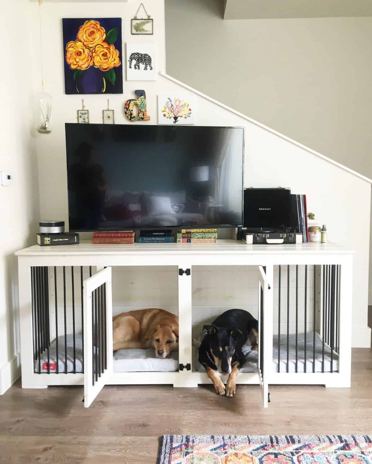 tv stand dog crate idea