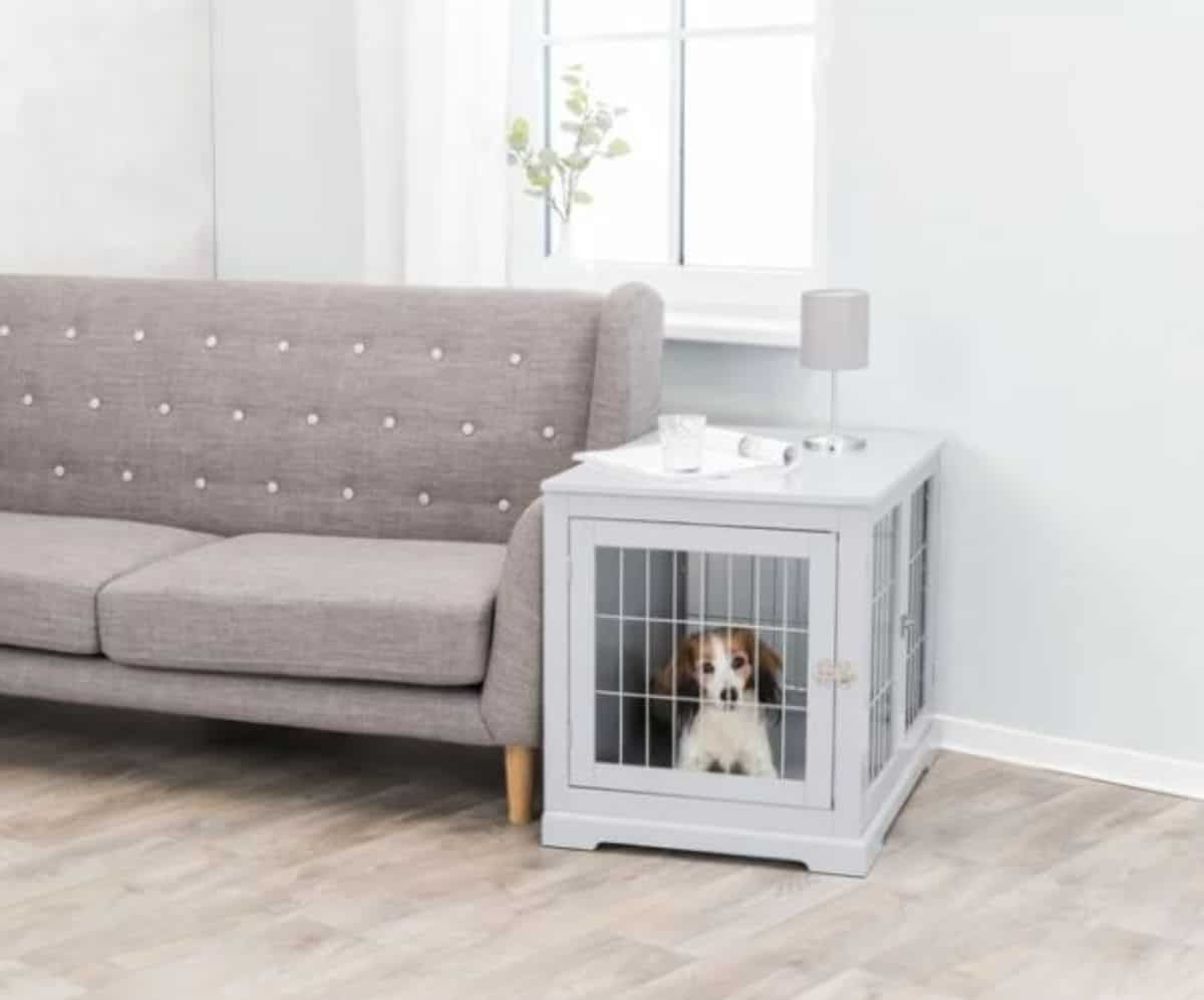 cute end table dog crate