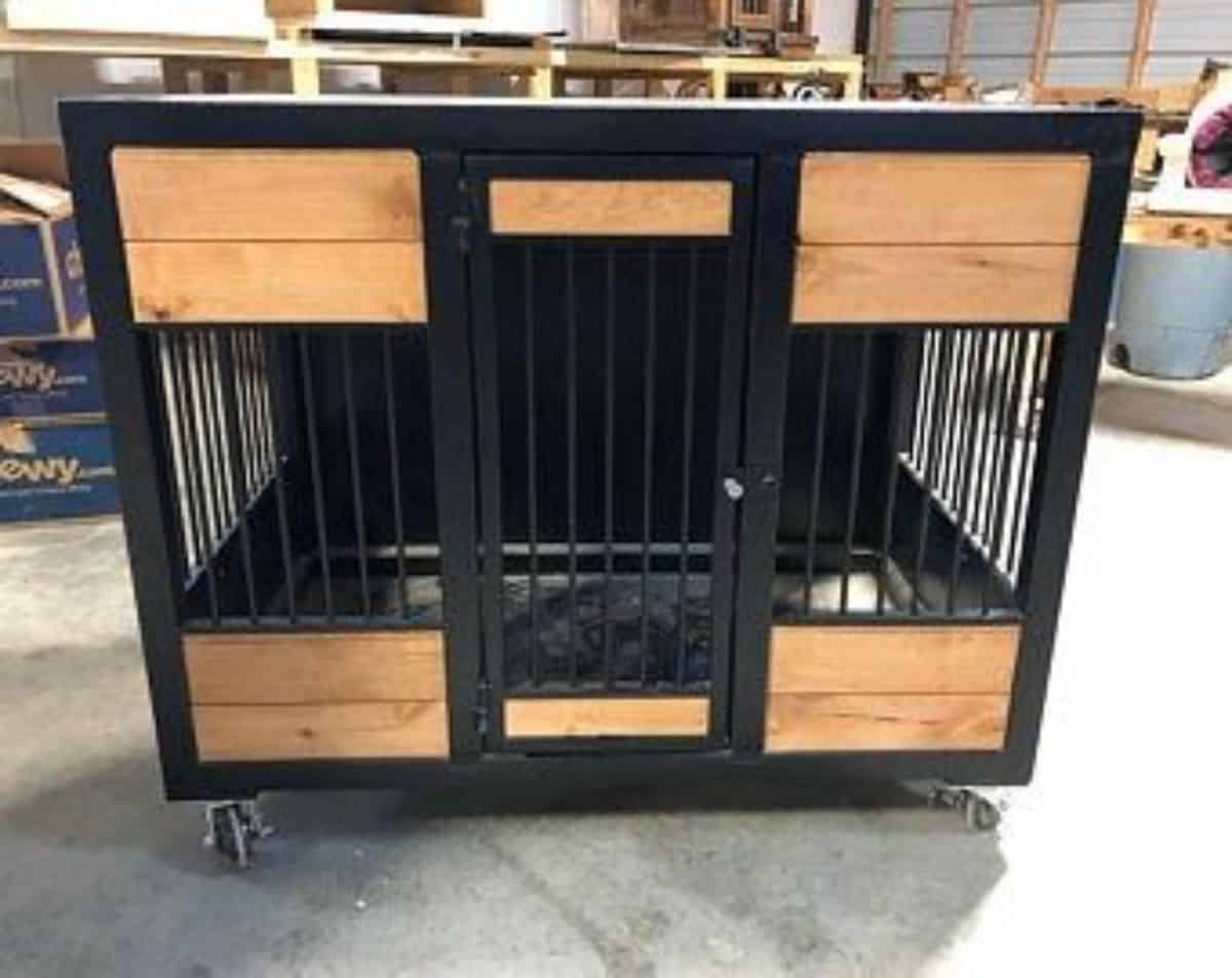 black and wood style dogcrate idea