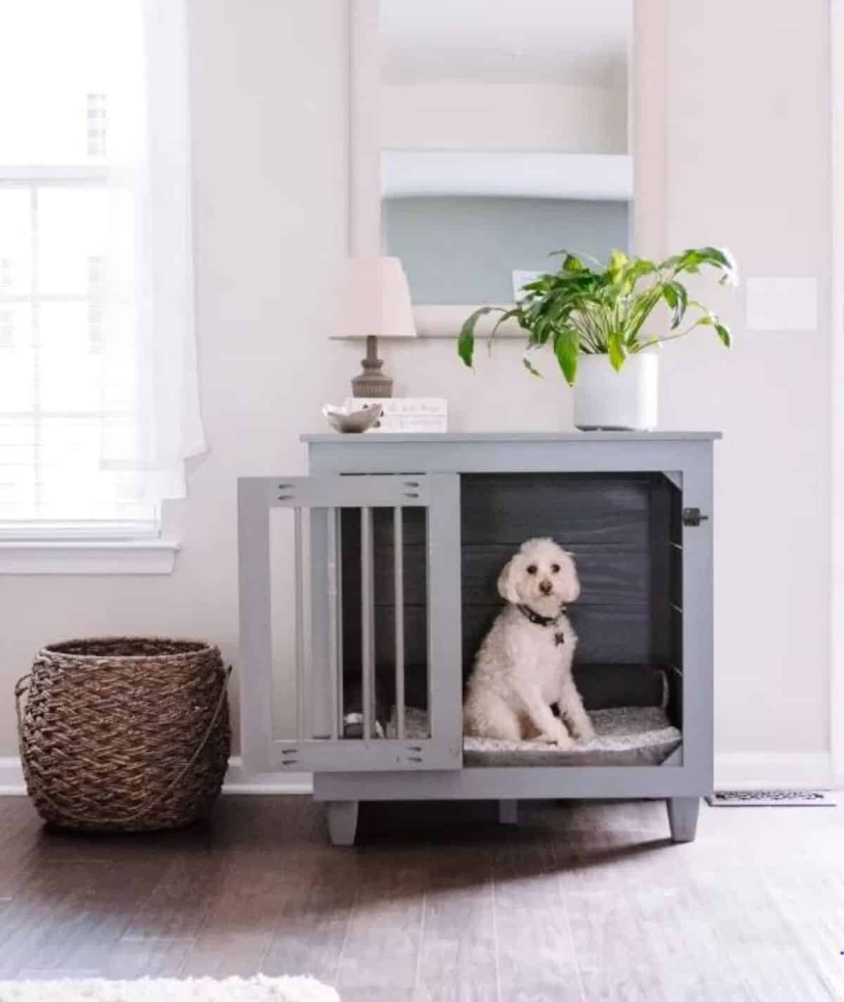Grey dog crate