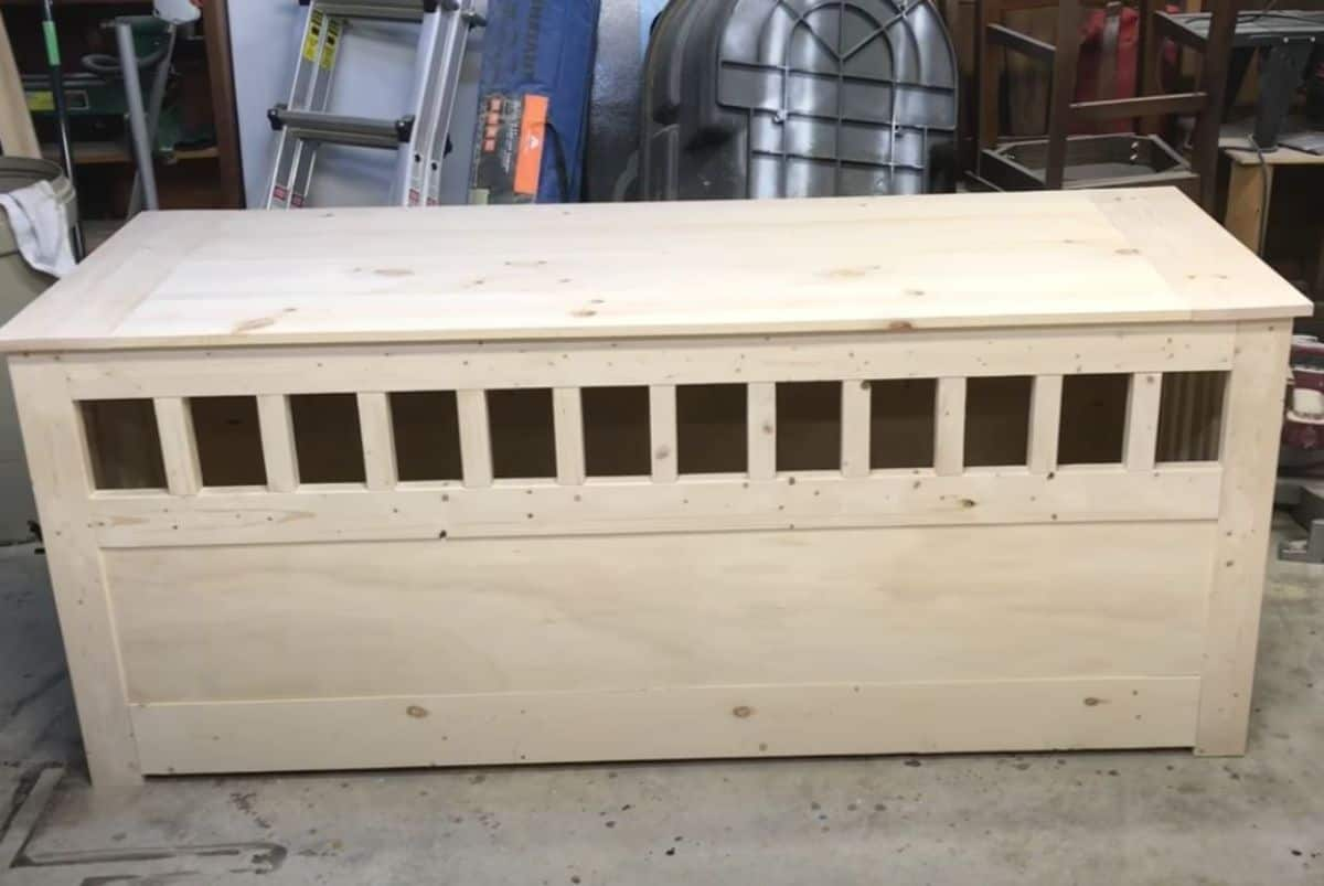 DIY long table dog crate