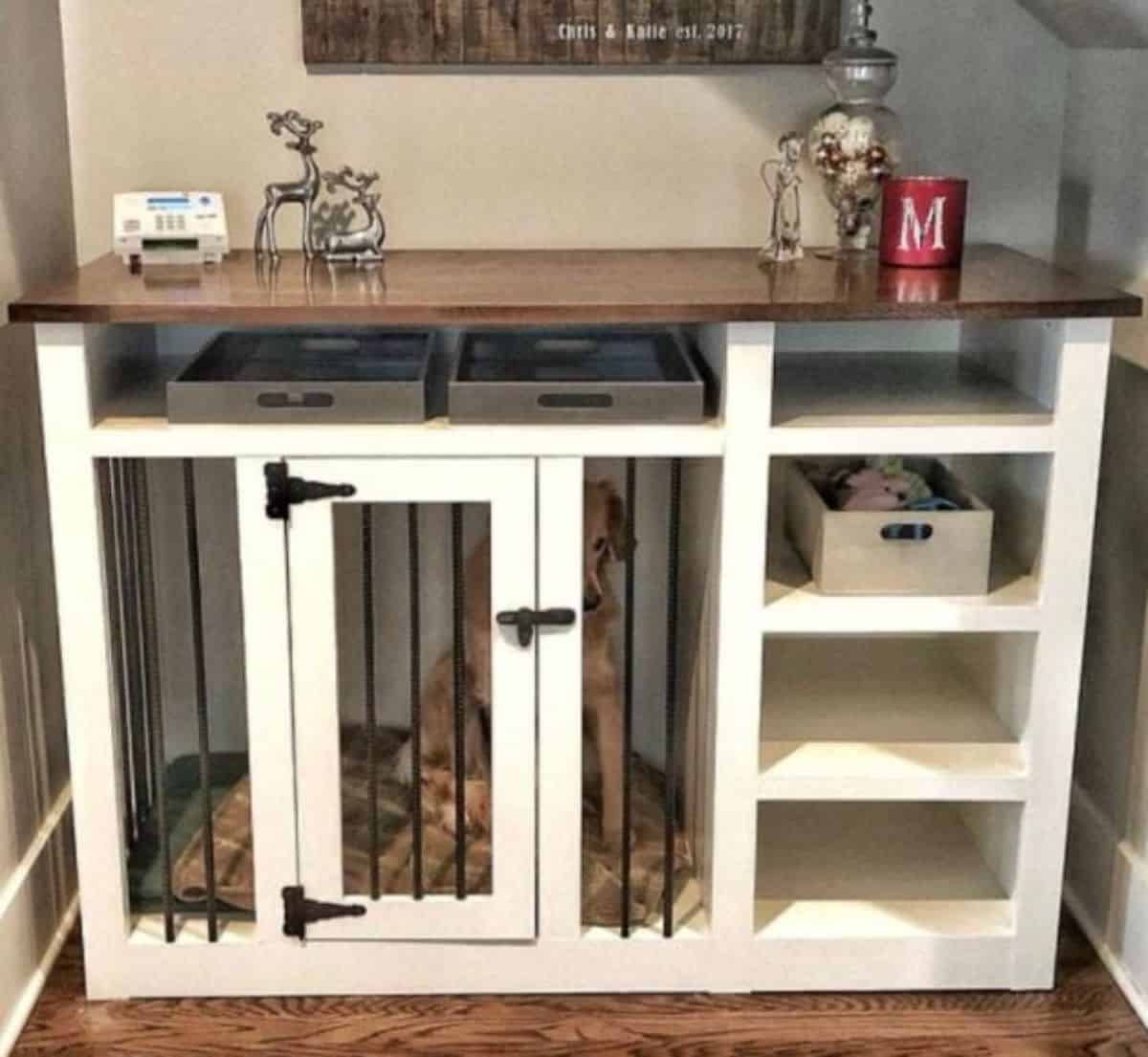 dog crate with organizers