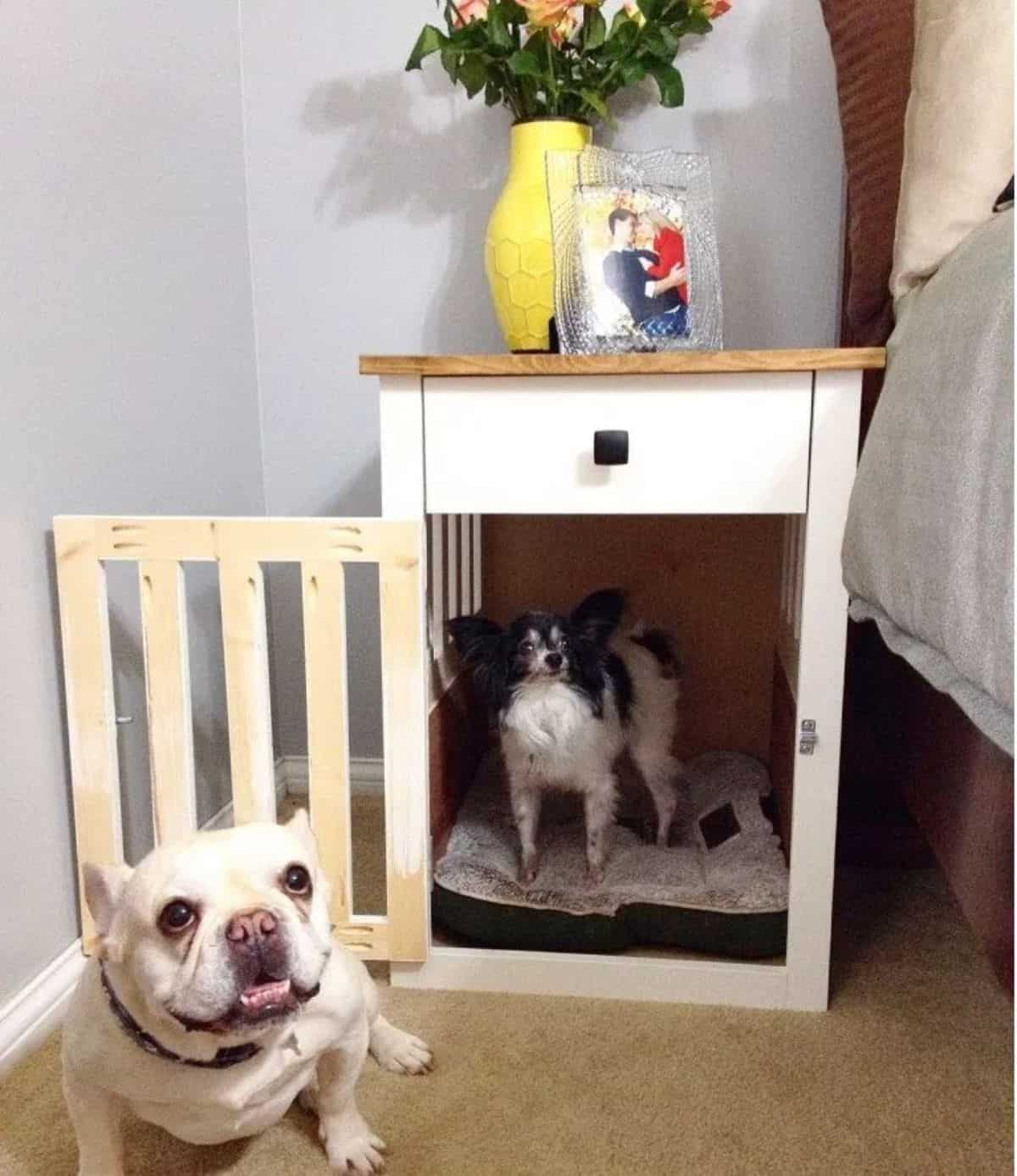 DIY nedside dog crate table
