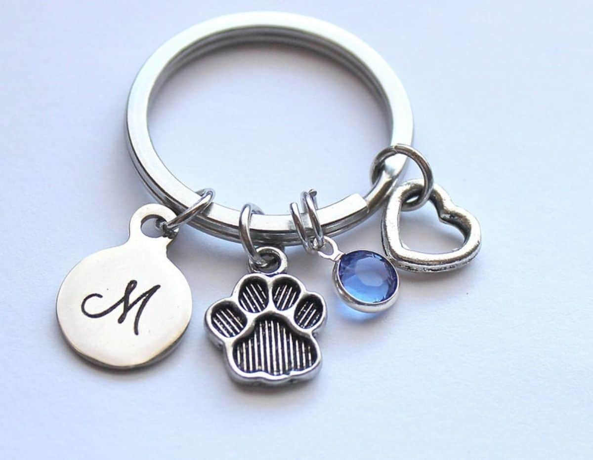 paw and initial kecychain