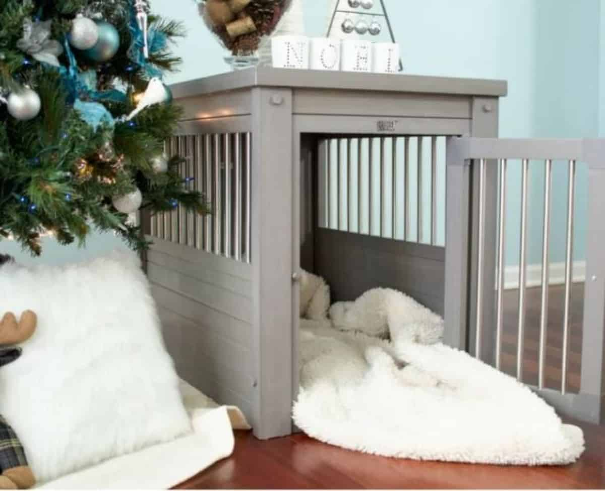 silver finished dog crate idea