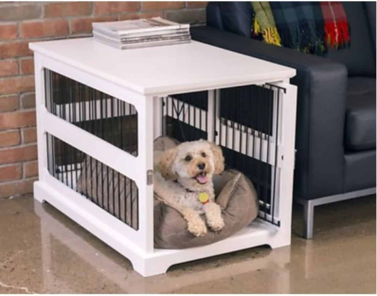 DIY white dog crate
