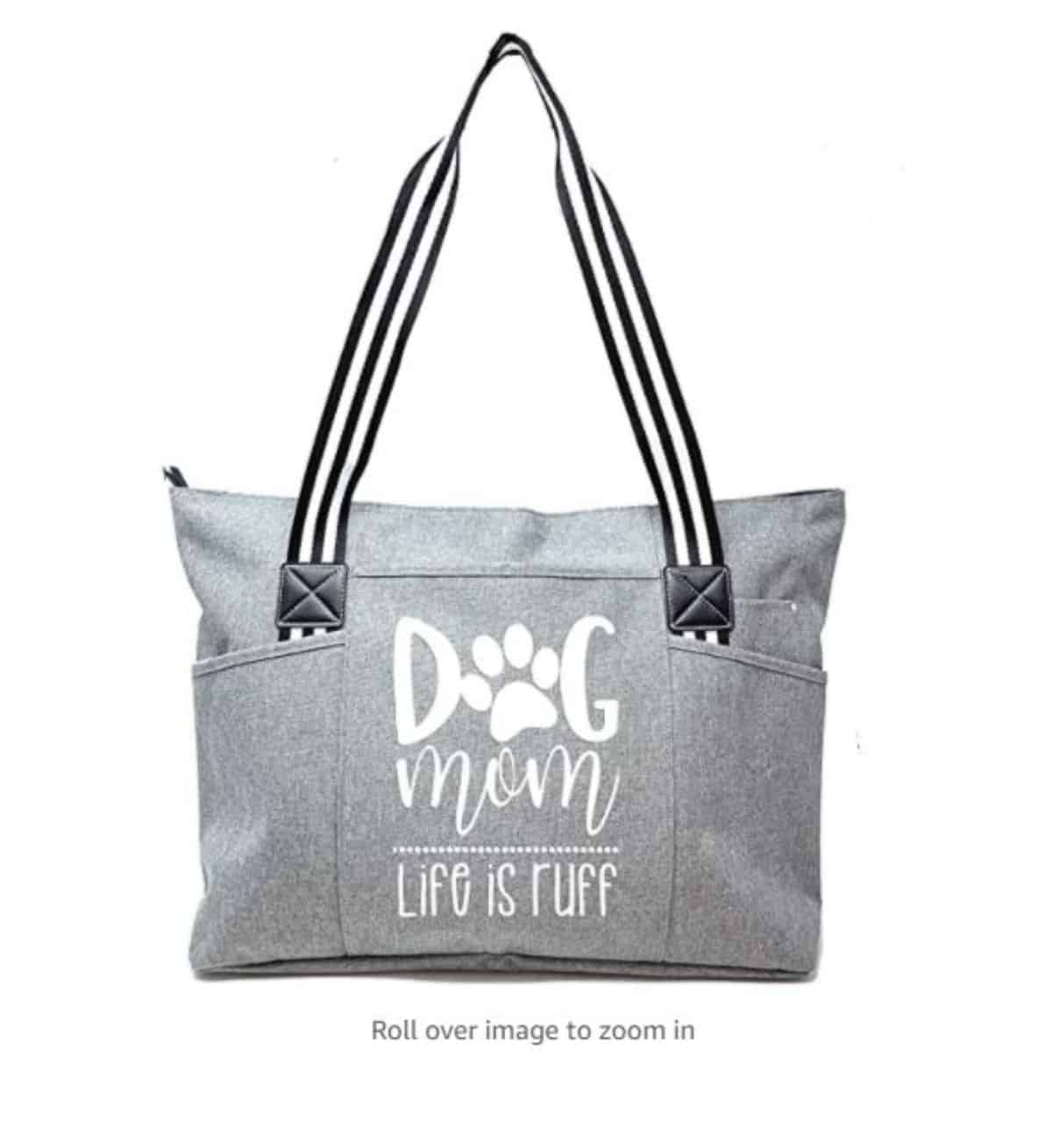 zippered tote bag with statement